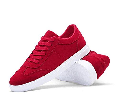WZG zapatos casuales de los nuevos hombres de color sólido para ayudar a los zapatos de los deportes de los hombres con cordones plana baja del estudiante Red