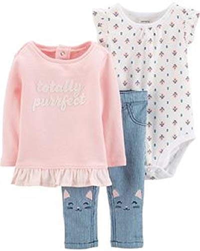 Carter's 3-Pc. Baby Girls Totally Perfect Top, Printed Bodysuit & Cat Jeans Set (24 Months)
