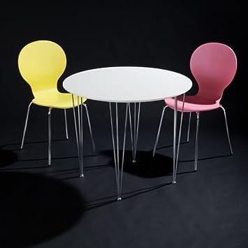 lounge zone 3er Set Esszimmertisch BLANCO rund + 2 Stapelstühle ...