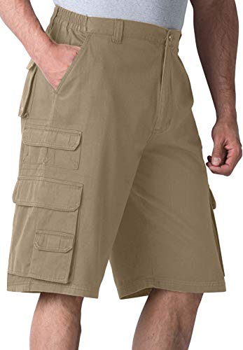 (Boulder Creek Men's Big & Tall Side-Elastic Twill Cargo Shorts, Dark Khaki Tall-40)