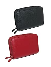 Buxton Womens Leather Mini Accordion Wizard Wallet (Pack of 2), Red Black