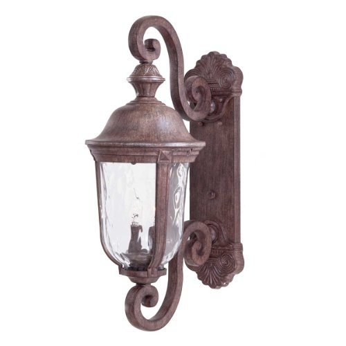 , 2 Light Wall Mount in Vintage Rust Finish w/Mouth Blown Clear Hammered Glass (Ardmore Outdoor 2 Light)