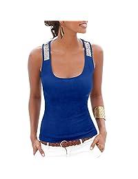 Cocobla Summer Sexy Vest Sequins U Collar Casual Women Tank Tops T-Shirt Blouse