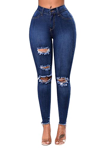 Baifern Women's Ripped Washed Hole Denim Long Jeans