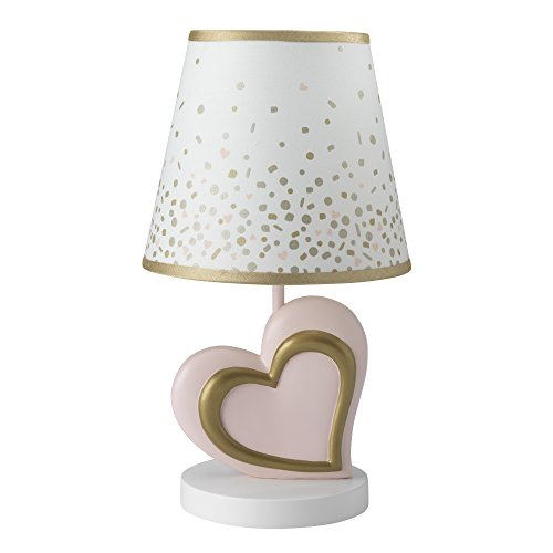 Lambs & Ivy Confetti Heart Lamp with Shade & Bulb, - Cute Pink Hearts
