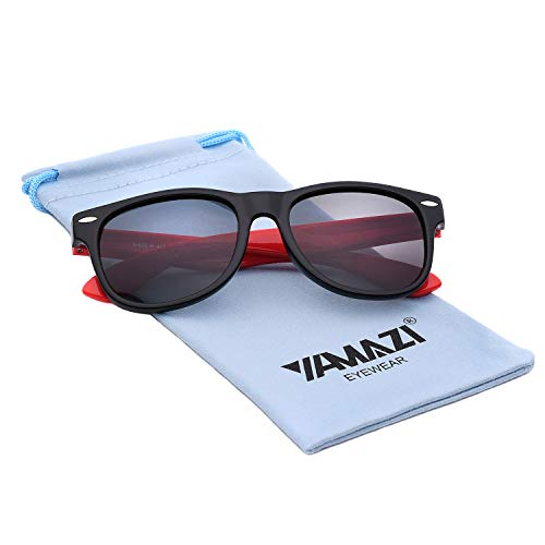 YAMAZI Kids Polarized Sunglasses Sports Fashion For Boys Girls Toddler Baby And Children (Bright Black&red | Gray Lens)