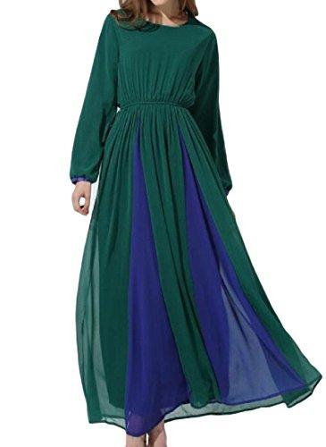 Women Muslim Style Sleeve Long Green Garment Coolred Folk Chiffon Dress 1fdWBwqa