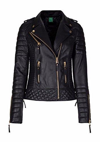 Mariyam Leather Womens Leather Jacket Black Slim Fit Biker Motorcycle Genuine Lambskin Coat- L by Mariyam Leather