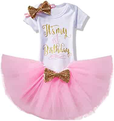 NNJXD Girl Newborn It's My 1st Birthday 3 Pcs/4 Pcs Outfits Romper+Skirt+Headband(+Leggings)