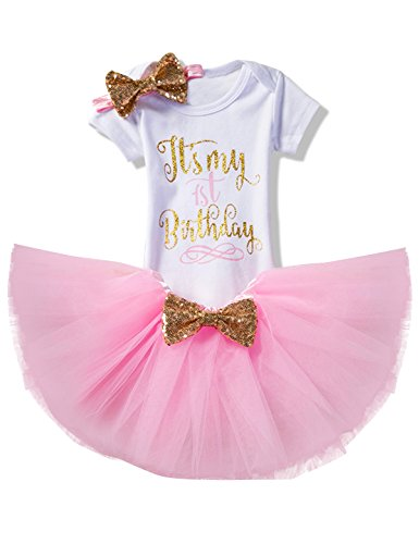 NNJXD Girl Newborn It's My 1st Birthday 3 Pcs Outfits Romper+Skirt+Headband Size (1) 1 Years Pink