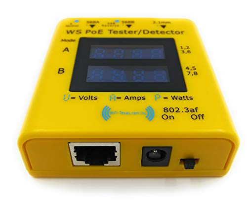 PoE-Tester | Inline Tester For Power Over Ethernet | Display 20 to 56 Volts, 0-5 Amps And Display Actively Used Power 802.3af/at and Passive PoE at 10/100/1000 Data Rates