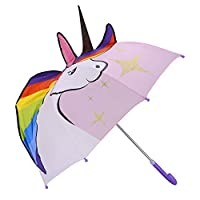 Kidorable Unicorn w/Stars Pop up Umbrella for Kid with Safety Open and Close by Micaddy | Age 3-7