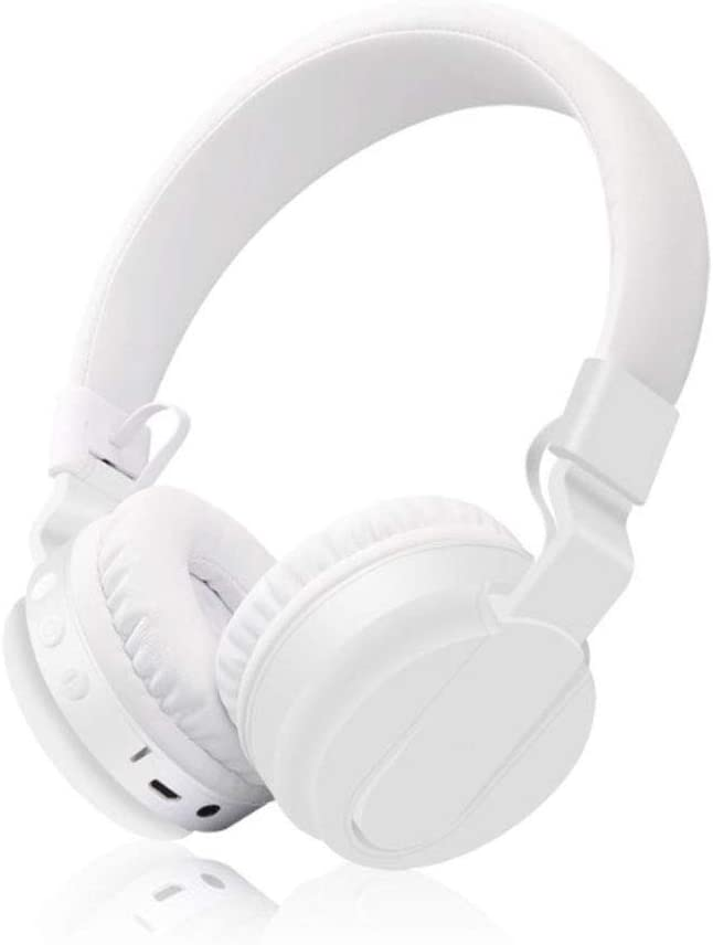XHN Noise Cancelling Headphones, Wired/Wireless Bluetooth Headphones with Mic,Monodeal Foldable on The Ear Headset with Deep Bass-White