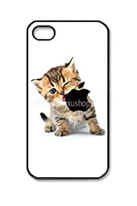 niuniushop iphone 4 case Kitten Eating Apple Logo white iphone 4s case