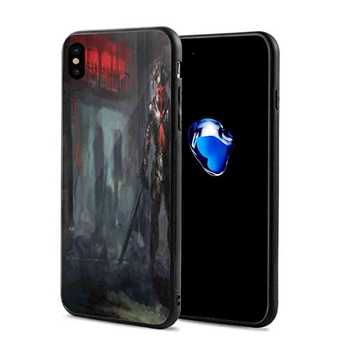 Phone Case Cover for iPhone X XS,Fictional Reverent Character in Fire Building Dark Gothic Demonic Devil Print,Compatible with iPhone X/XS 5.8 ()