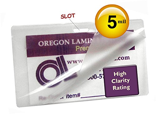 Oregon Laminations Premium 5 Mil Luggage Tag size Hot Laminating Pouches With Slot Long Side 2-1/2 x 4-1/4 (Pack of 200) - Id Badge Laminating