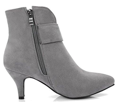 Idifu Kvinna Eleganta Strass Mitten Stilettklackar Boots Med Dragkedja Grå