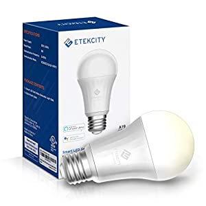 Etekcity Smart Light, WiFi Dimmable Soft White LED Bulb, Work with Alexa, Google Home and IFTTT, Easy Setup, Schedule, A19 E26, 60W Equivalent, 806LM, 2700K, No Hub Required, UL Listed