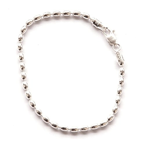 Shiny Sterling Silver 7-inch Oval Rice Bead Link Bracelet – Italian 4-mm Oval Beads w/ Lobster Claw (Oval Bracelet Bead)