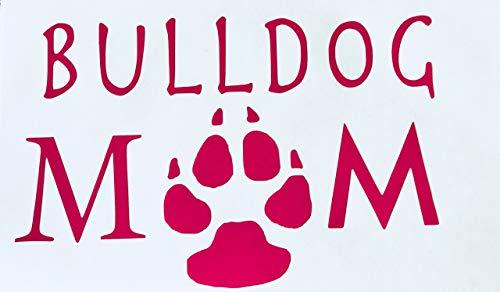 Custom Pink Paw Bulldog Mom Vinyl Decal - Dog Breed Bumper Sticker, for Laptops or Car Windows - Paw Print ()