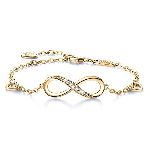 (Billie Bijoux Womens 925 Sterling Silver Infinity Endless Love Symbol Charm Adjustable Bracelet Gift for Women (C- Gold))