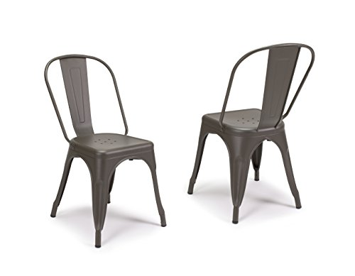 SET OF 2 Tolix Style Iron Chairs, COOPER MATTE ESPRESSO, Sturdy/Stackable Vintage Tabouret Chair, Bistro Chair, Café Chair Indoor and Outdoor Armless with Back