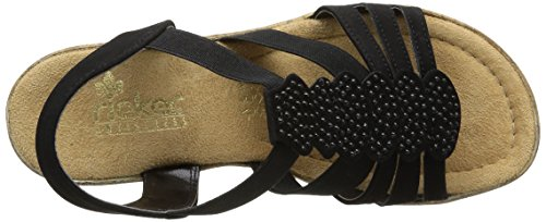 Rieker 69702 Women Open Toe, Women's Open Toe Sandals Black (Schwarz)