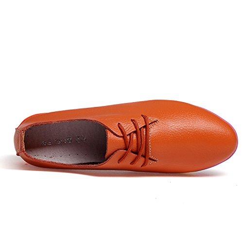 Orange para de de Zapatos Mujer Cordones 2 DoraTasia Cuero Xw4xqaf8