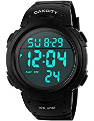 CakCity Men's Digital Sports Watch LED Screen Large Face Military Watches and Waterproof Casual Luminous Stopwatch Alarm Simple Army Watch - Black