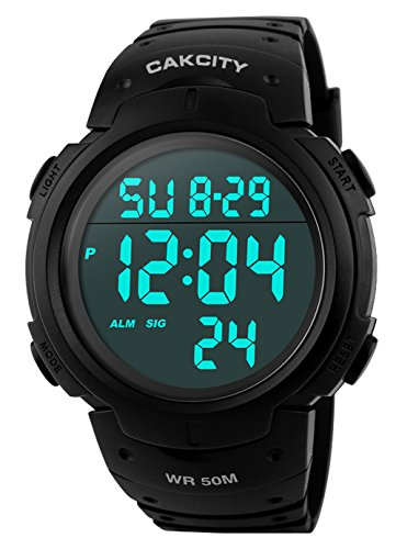 - CakCity Men's Digital Sports Watch LED Screen Large Face Military Watches and Waterproof Casual Luminous Stopwatch Alarm Simple Army Watch - Black