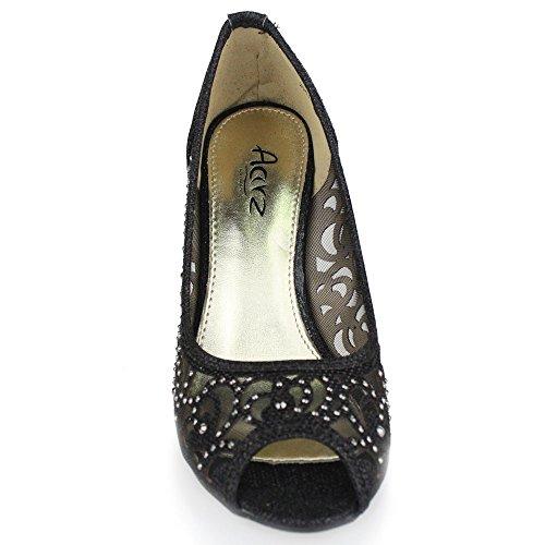 Negro Paseo Zapatos Tacón Fiesta Mujer Alto Diamante Señoras Tamaño Sandalias Boda Peeptoe Noche wnqUU76I