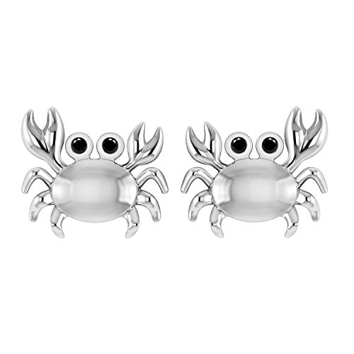0.05 Ct Black Real Diamond in 14K White Gold Fn 925 Sterling Silver Sea Crab Stud Earrings W/Screw Back