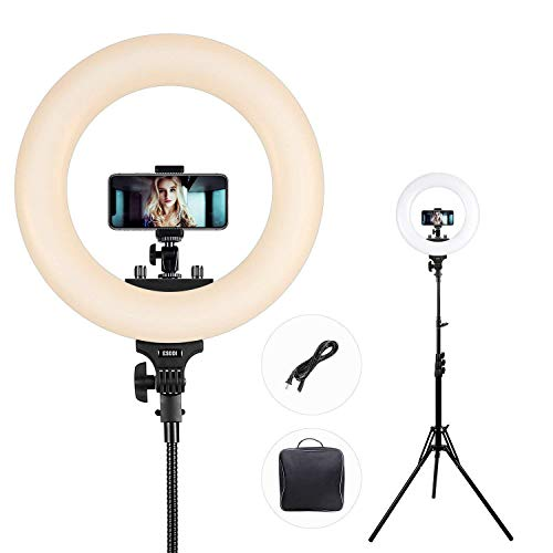 Ring Light, ESDDI 14inch Outer Dimmable Camera Photo Video LED Lighting Kit, Adjustable Color Temperature 3200K-5600K, Light Stand, Phone Adapter, Soft Tube for Portrait YouTube Video, Vlog, Makeup by ESDDI