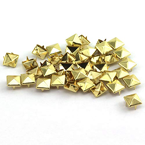RuiLing 100pcs 10x10mm Pyramid Spike Nailheads 4 Prong Leathercraft Punk Rock Rivet Studs for Bracelets Clothes Bags Shoes Belt DIY Decoration Gold