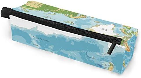 Estuche para lapicero Gafas de sol Mapa físico del mundo Cosméticos Estudiantes Papelería Cremallera para niñas Niños: Amazon.es: Oficina y papelería