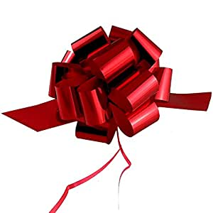 "Metallic Red Christmas Gift Wrap Pull Bows - 5"" Wide, Set of 10"