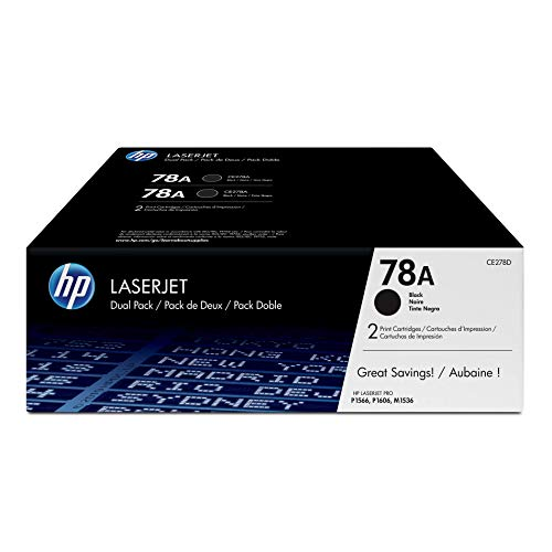 HP 78A (CE278A) Black Toner Cartridge, 2 Toner Cartridges (CE278D)  for HP LaserJet Pro M1536 P1606