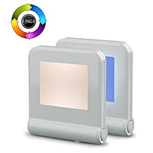 Plug in LED Night Light with Smart Dusk to Dawn Sensor, MAZ-TEK Multi-Color Changeable Nightlights, Energy Efficient Night Lamp for Bedroom, Baby Room, Kitchen, Hallway, Stairway, 2 Pack from FUZHOU MAZ-TEK ELECTRONIC CO.,LTD