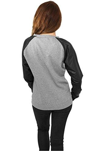 Urban Classics Jersey Chica Imitación Cuero Cuello Redondo Sudadera mujer gris/negro gris/negro