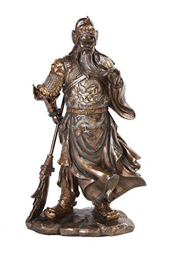 10630 Guan Yu Chinese Fighting Warrior Resin Statue Figurine, 12.25