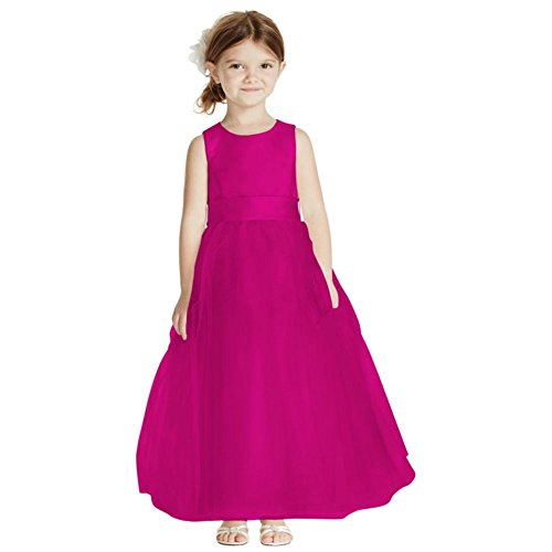 Satin Flower Girl/Communion Dress With Tulle Skirt Style S1038, Begonia, 5 by David's Bridal