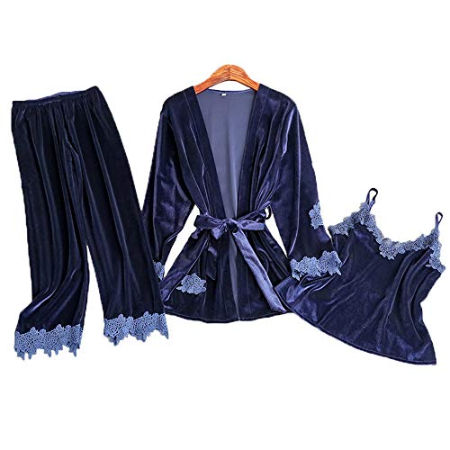 Otoño Bedgown Blue De Domicilio Correa Sexy Pantalones Oro Servicio Pijamas A Señoras Traje Invierno Dark Leeqn Terciopelo 6qwad6R