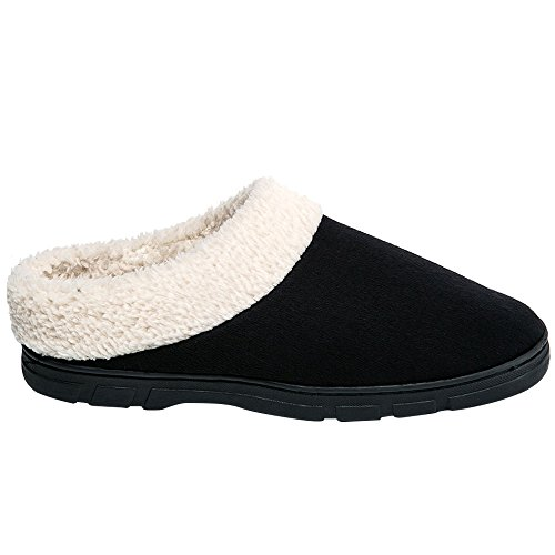 SITAILE Slippers for Men, Memory Foam Mens Fuzzy House Slipper Clogs Winter Home Shoes Indoor Outdoor Slippers Black