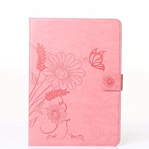 SRY-Funda móvil Samsung Samsung Tab E 9.6 pulgadas T560 T561 cubierta de la caja, flores en relieve patrón de mariposa caso, Retro Folio Flip soporte de la caja para Samsung Tab E 9.6 pulgadas T560 T5 Pink
