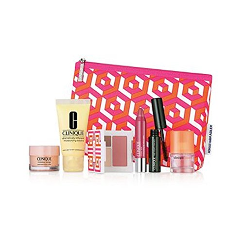 Clinique 7 Piece Cosmetic Makeup Bag Gift Set For Women – Includes Moisturizing Lotion, High Impact Mascara, Chubby Stick, Happy Perfume Spray and More ($75 Value!)