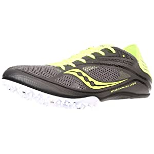 Saucony Men's Endorphin MD3 Track Shoe,Grey/Citron,13 M US