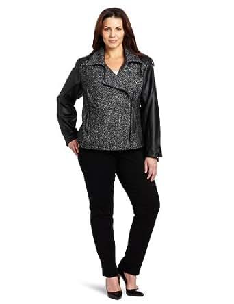 Calvin Klein Women's Plus-Size Moto Jacket, Black/White, 2X