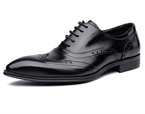 WZG Los nuevos hombres de British Columbus Locke tallado zapatos de cuero primera capa de zapatos de cuero de zapatos de boda zapatos planos acentuados Black