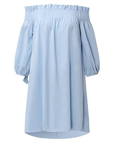 StyleDome Mujer Vestido Mini Corto Playa Camisa Blusa Larga Mangas 3/4 Cuello Barco Elegante Noche Azul Claro