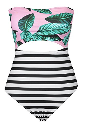 Cupshe-Fashion-Womens-Leaves-Printing-Stripe-Halter-One-piece-Padding-Swimsuit-with-Cutout